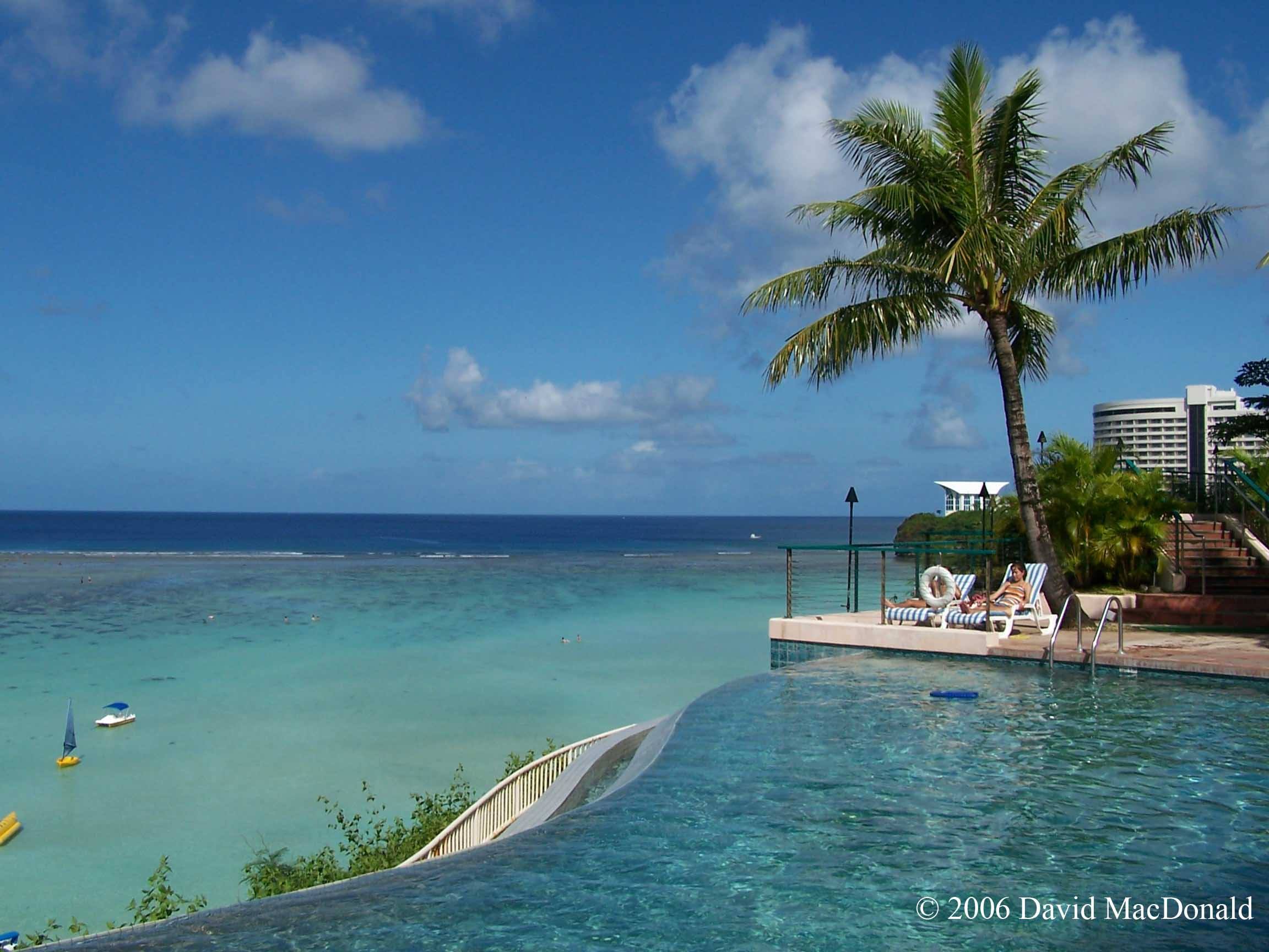 Pacific Ocean from the Guam Reef Hotel swimming pool