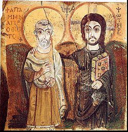 Christ and Saint Menas. A 6th-century Coptic icon from Egypt (Musee du Louvre)